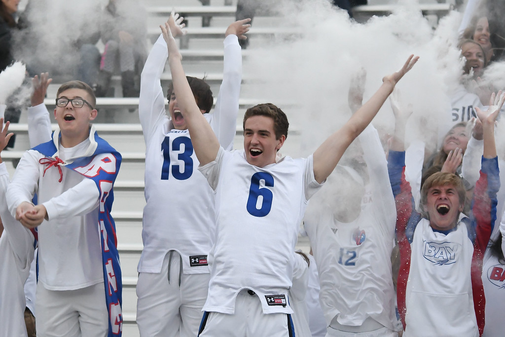 . Eric Bonzar�The Morning Journal <br> It\'s a whiteout in Bay Village as the Bay High School student section tosses powder in the air to kick off the Rockets\' Great Lakes Conference home game against the Rocky River Pirates, Sept. 29, 2017.