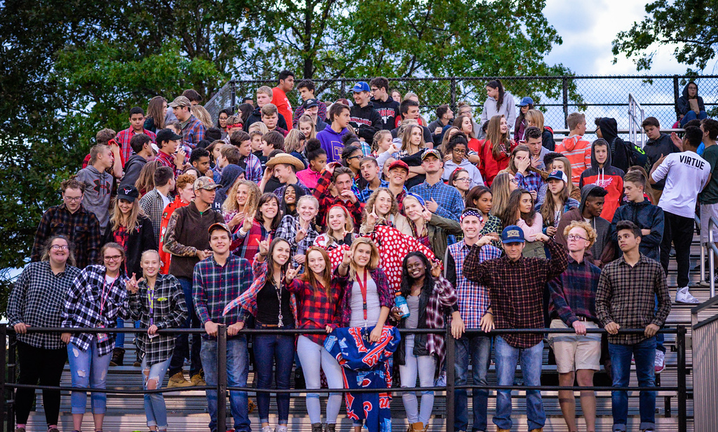 . Aimee Bielozer - The Morning Journal<br> The Lutheran West student section cheers on the Longhorns against Columbia on Sept. 29.