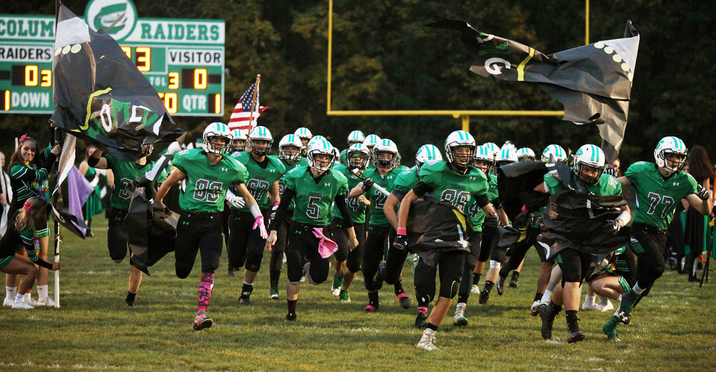 . Randy Meyers - The Morning Journal<br> The Columbia Raiders take the field against Clearview on Oct. 6.