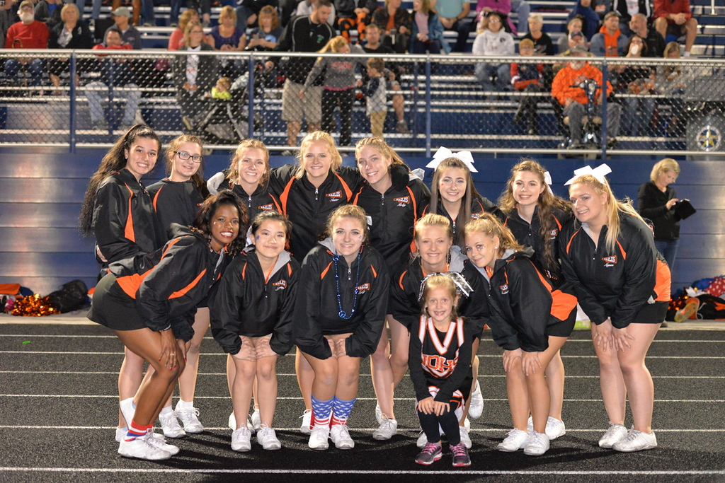 . Aimee Bielozer - The Morning Journal<br> The North Olmsted cheerleaders pose for a photo prior the the Eagles\' game against North Olmsted on Oct. 6.
