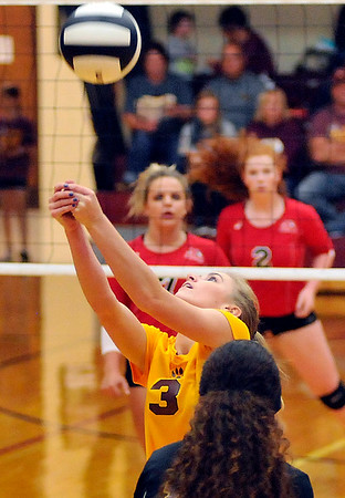 John P. Cleary   The Herald Bulletin<br /> Alexandria's Megan Miller hits the ball to the net to setup a teammate.