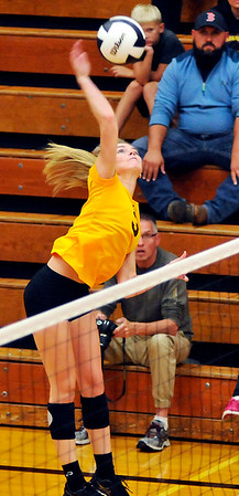 John P. Cleary | The Herald Bulletin<br /> Alexandria's Megan Miller gets one of her 15 kills.