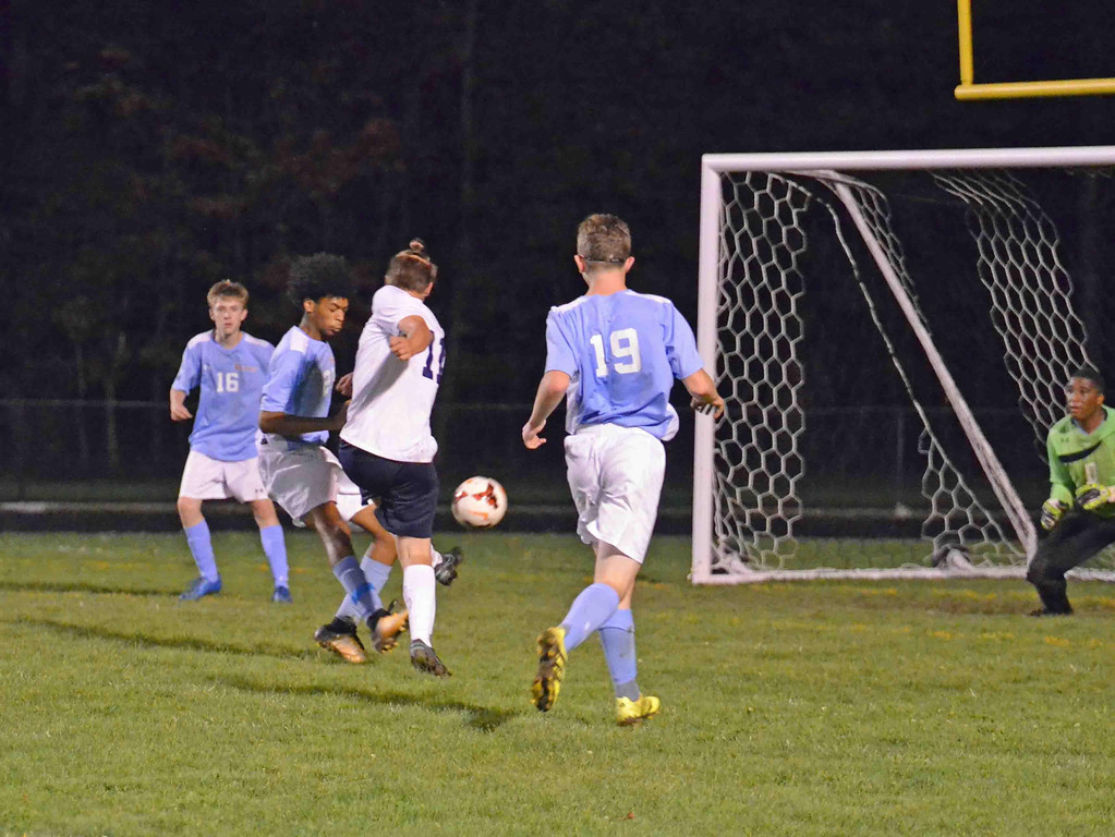 . Paul DiCicco - The News-Herald Wickliffe Senior, Brady Wilson, scores a goal in his last home game, against VASJ on Oct. 12.