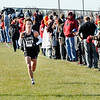 Lapel High School's Luke Combs nears the finish line where he placed first in the boys competition.