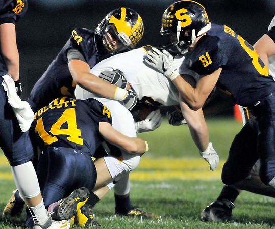 John P. Cleary |  The Herald Bulletin<br /> Shenandoah's swarming defense was hard to run on.