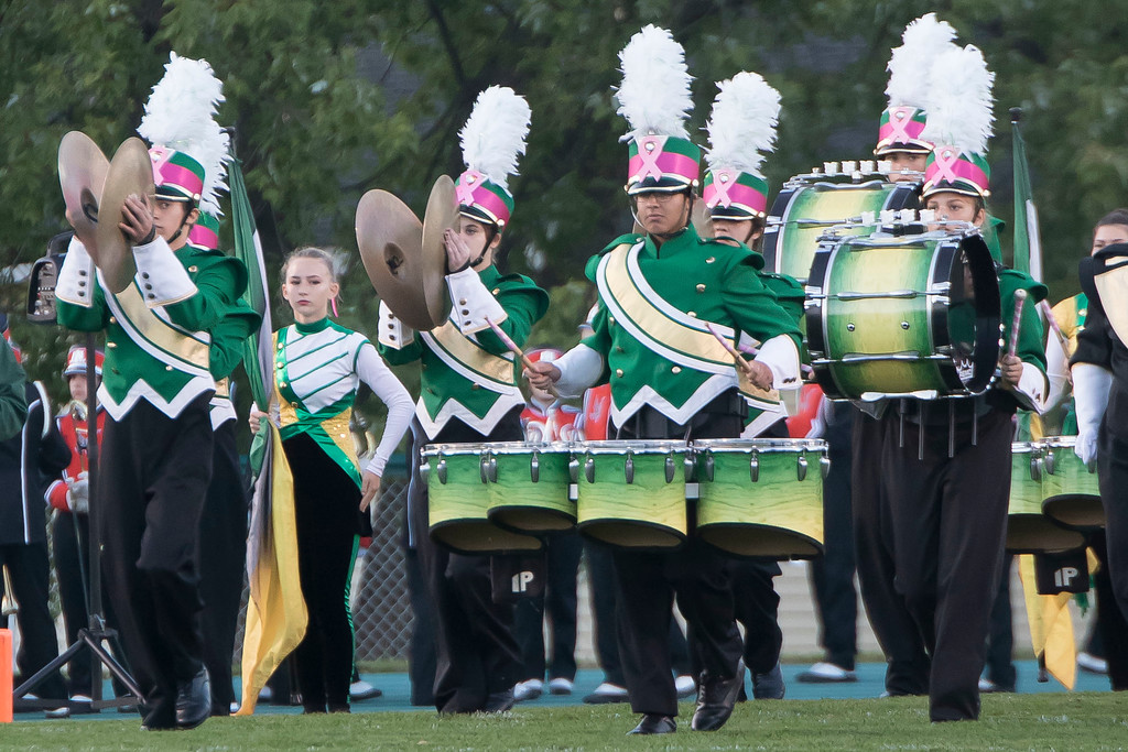 . Jen Forbus - The Morning Journal<br> The Amherst marching band takes the field for their pre-game show on Oct. 13.