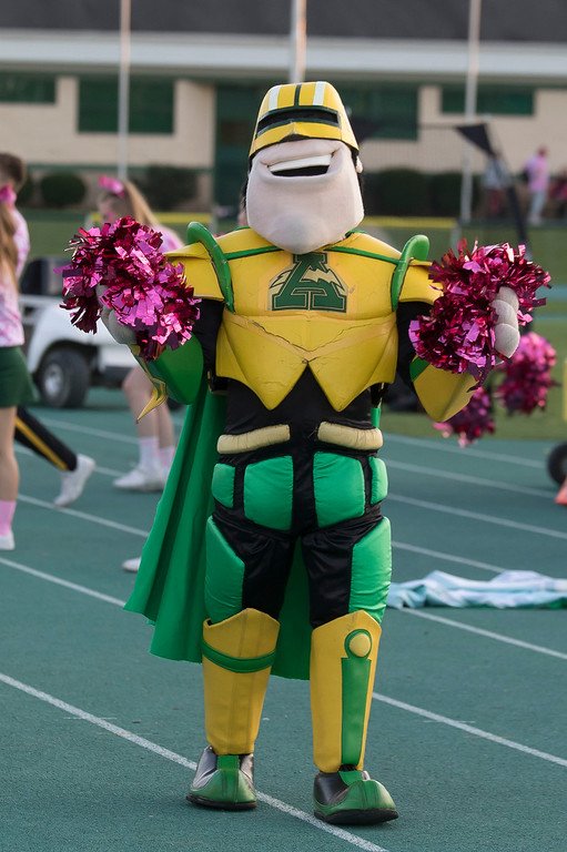 . Jen Forbus - The Morning Journal<br> Amherst mascot, Comet Man, lends a hand to the varsity cheerleading squad on Oct. 13.