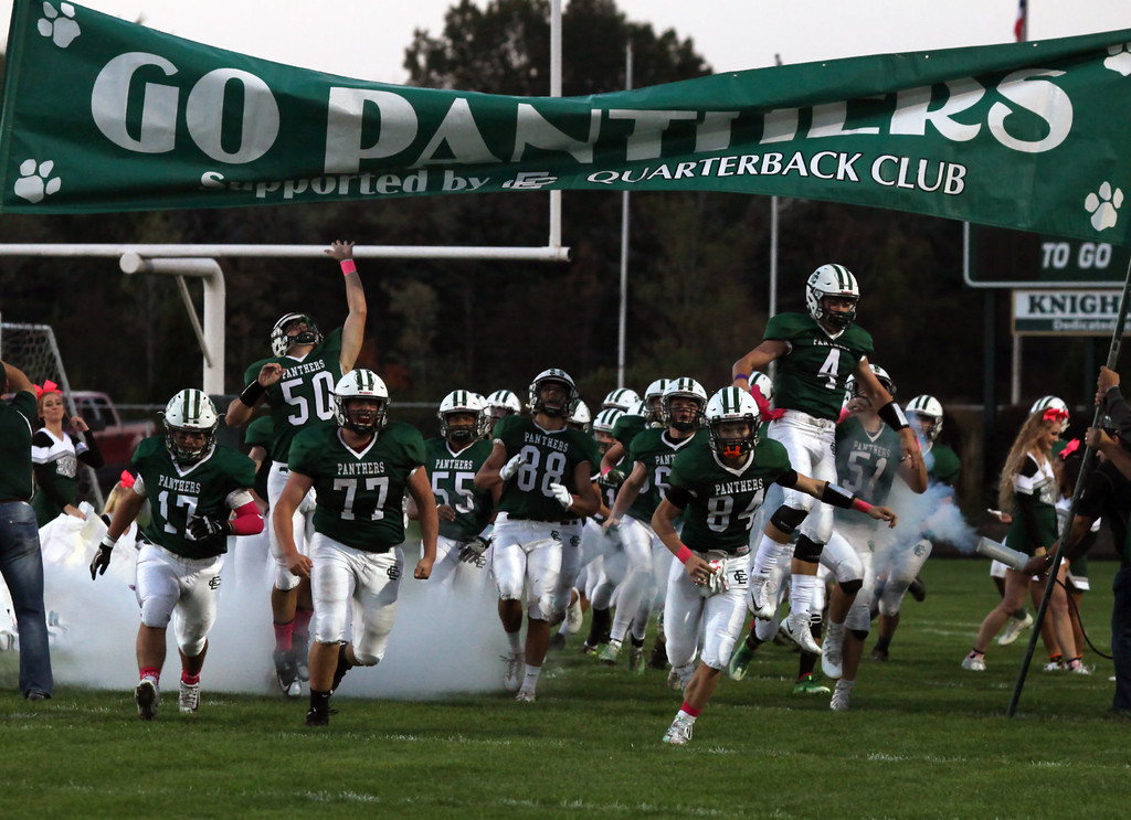 . Randy Meyers - The Morning Journal<br> The Elyria Catholic Panthers take the field against Bay on Oct. 13.
