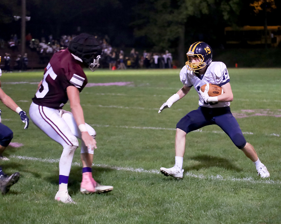 . Coleen Moskowitz - The News-Herald Kirtland\'s Dominic Capretta intercepts a Fairport pass on Oct. 12.