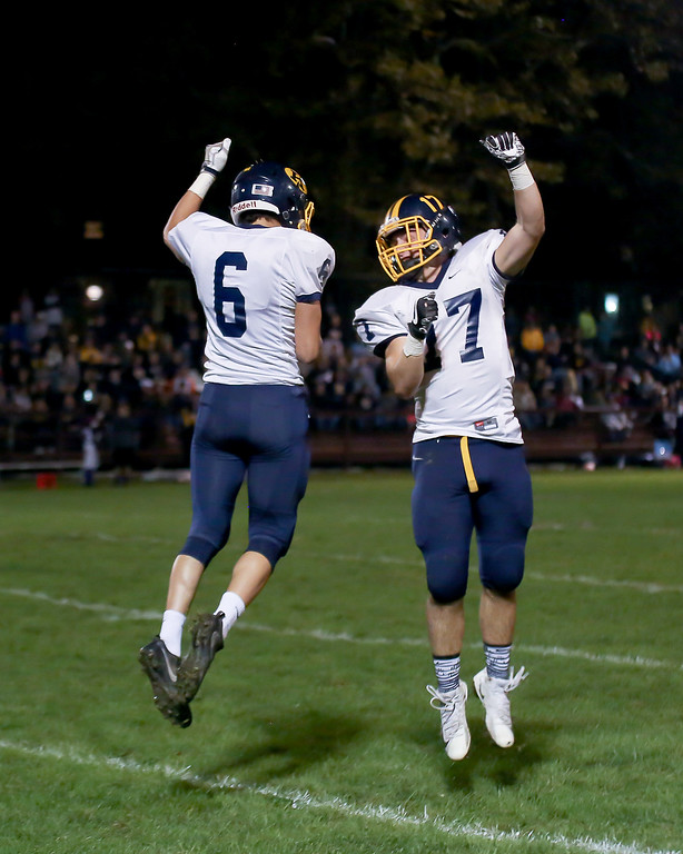 . Coleen Moskowitz - The News-Herald Kirtland\'s Connor Gron, left, celebrates his touchdown with Ryan Lipps on Oct. 12.