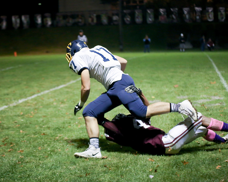 . Coleen Moskowitz - The News-Herald Fairport\'s Rashawn Alston tackles Kirtland\'s Ryan Lipps on Oct. 12.