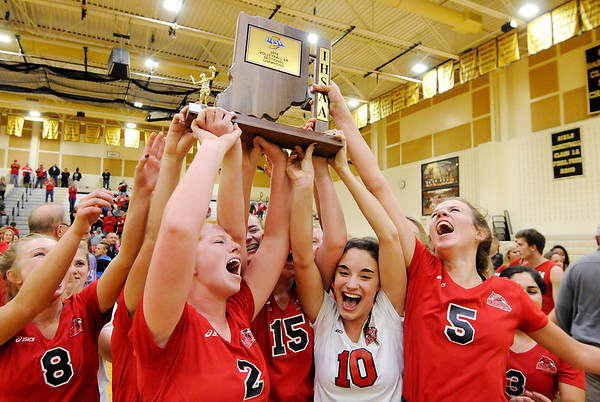 Don Knight | The Herald Bulletin<br /> The Frankton Ealges celebrate their first sectional crown in 22 years with a 25-21, 23-25, 25-18, 25-23 win over Alexandria on Saturday.