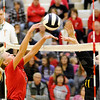 Don Knight | The Herald Bulletin<br /> Frankton's Audrey Cleek and Alexandria's Allyson Granger battle at the net in the sectional final at Lapel on Saturday.
