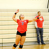 Don Knight | The Herald Bulletin<br /> Frankton's Aleyah Rastetter opens the fourth set with a 5-0 run for the Eagles in their sectional final against Alexandria at Lapel on Saturday.