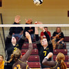 John P. Cleary |  The Herald Bulletin<br /> Alexandria vs Monroe Central in 2A volleyball sectional championship.