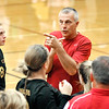 John P. Cleary |  The Herald Bulletin<br /> Alexandria coach Jeff Harmon gives instructions during one of his timeouts in the third set.