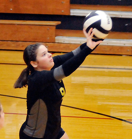 John P. Cleary    The Herald Bulletin<br /> Alexandria vs Monroe Central in 2A volleyball sectional championship.