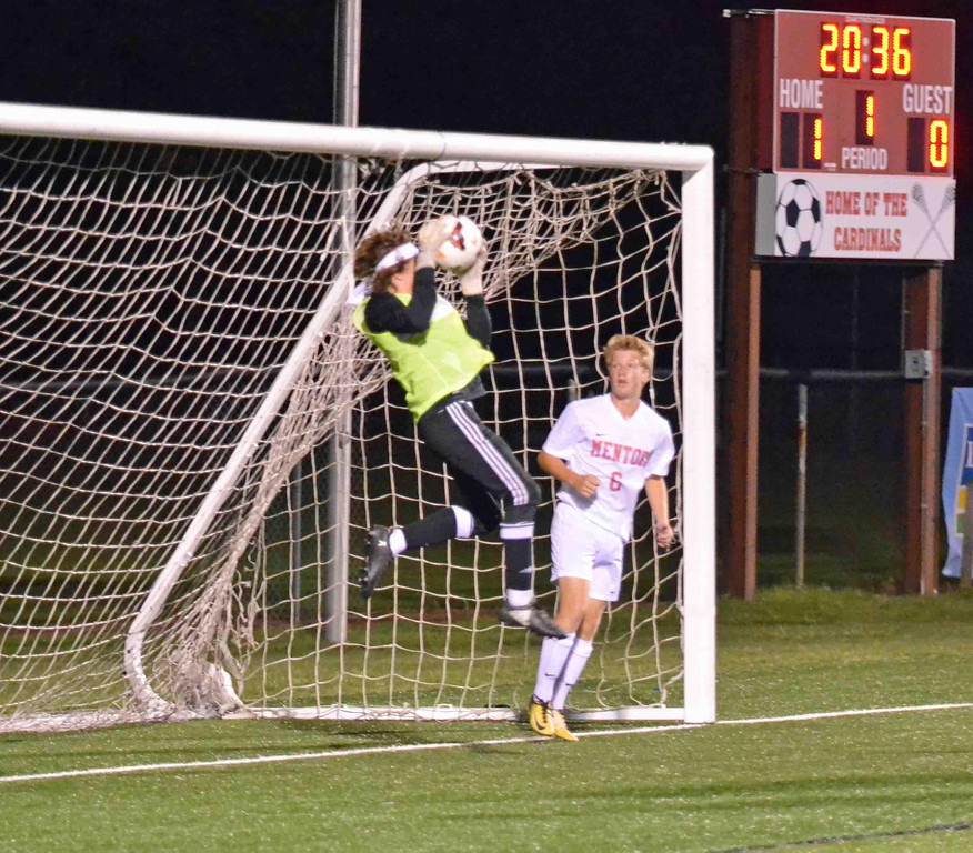 . Paul DiCicco - The News-Herald Mentor\'s goalkeeper was kept busy all night with over 10 corner-kicks to defend.  He didn\'t allow any goals as Mentor went on to win 1-0.