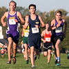 Randy Meyers - The Morning Journal<br /> Near the halfway point of the Boys Varsity Cross Country  5K on Saturday are Michael Rennette of Avon, Andrew Gluvna  of Olmsted Falls, and Joseph Toole of Lakewood.