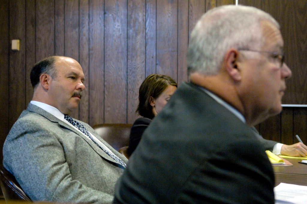. News-Herald file Notre Dame Cathedral Latin Athletic Director Frank Platzar, left, and Dan Ross, commissioner for the Ohio High School Athletic Association are shown in a hearing before Geauga County Common Pleas Judge David L. Fuhry in 2007.