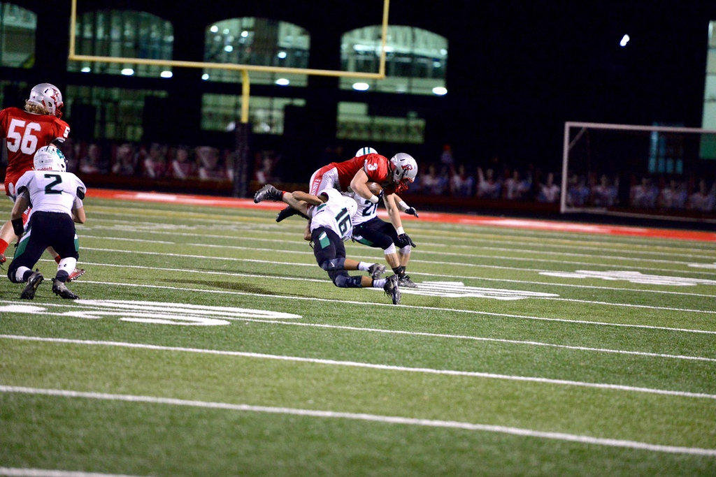 . Aimee Bielozer - The Morning Journal<br> Fairview\'s Jacob Stahl gets tackled by Columbia\'s Jared Bycznski on Oct. 20.