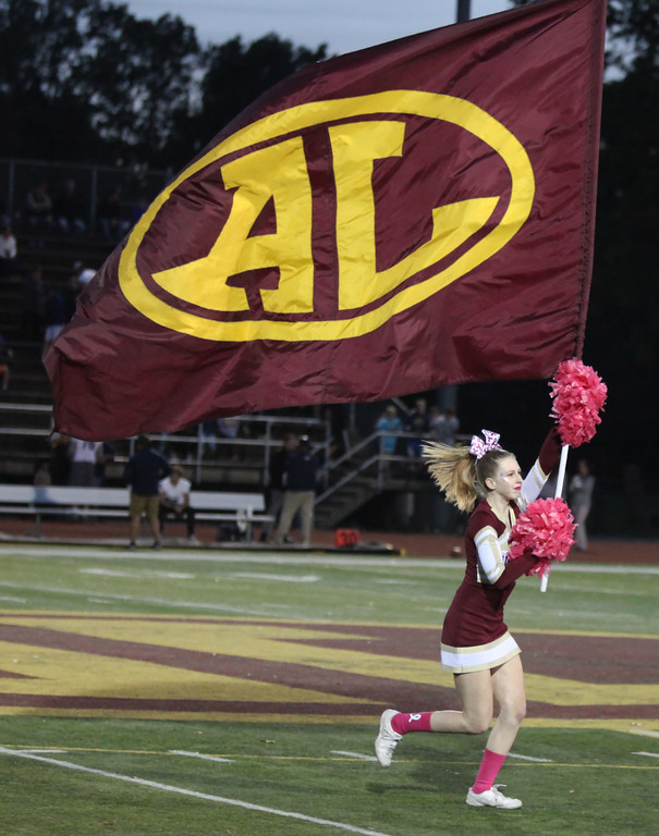 . Randy Meyers - The Morning Journal<br> Avon Lake cheerleader Lauren Molloy leads her squad and the team onto the field against Olmsted Falls on Oct. 20.