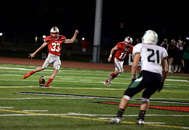 . Aimee Bielozer - The Morning Journal<br> Fairview kicker Adam Nemeth kicks the ball away to Columbia on Oct. 20. Nemeth had three field goals in the 15-14 victory, including a game-winner as time expired.
