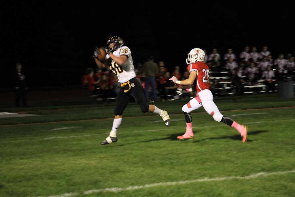 . Nicholas Pfeifer - The Morning Journal<br> Black River\'s Travis Sexton reels in a pass for a 2-point conversion against Firelands on Oct. 20.