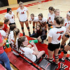 Don Knight | The Herald Bulletin<br /> Frankton coach Beth Sperry talks to her team during a timeout as the Eagles faced the Wabash Apaches in the volleyball regional at Taylor High School on Saturday.