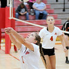 Don Knight | The Herald Bulletin<br /> Frankton's Chainey Lowe passes the ball as the Eagles faced Wabash in the volleyball regional at Taylor High School on Saturday.