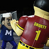 Eric Bonzar—The Morning Journal<br /> Midview's mascot and Avon Lake's mascot square off in a dance off during their teams' Southwestern Conference match-up, Oct. 21, 2016.