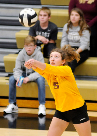 Don Knight | The Herald Bulletin<br /> Alexandria's Madalyn Weaver passes the ball as the Tigers faced Elwood in the sectional final at Madison-Grant on Saturday.