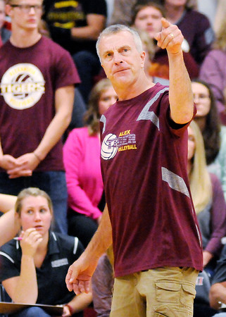 Don Knight | The Herald Bulletin<br /> Alexandria's coach Jeff Harmon voices his displeasure with a call as the Tigers faced Wapahani in regional action on Tuesday.