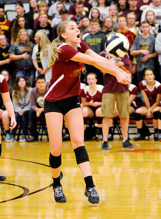 Don Knight | The Herald Bulletin<br /> Alexandria's Megan Miller passes the ball as the Tigers traveled to Wapahani for the regional on Tuesday.