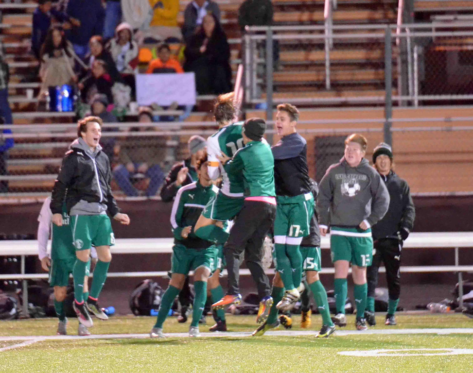 . Paul DiCicco - The News-Herald Lake Catholic celebrates its 1-0 victory over Brush in a Division I district semifinal on Oct. 25 at Brush.