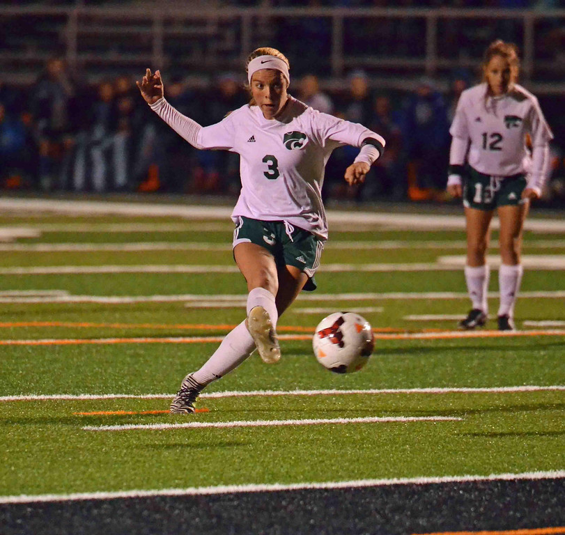 . Paul DiCicco - The News-Herald Mayfield\'s Cassie Lewis scores Mayfield\'s second goal on a penalty kick in the Division I District Final at Eastlake North on Oct 26.