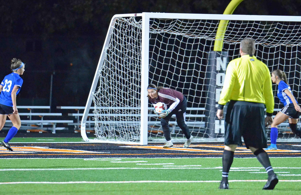 . Paul DiCicco - The News-Herald Madison Goalie, Jordan Pasalaqua, under attack all night by Mayfield\'s aggressive offense, performed remarkably in goal.  Mayfield went on to win on penalty kicks, 4-2 in this Division I District final contest on Oct 26 at Eastlake North.