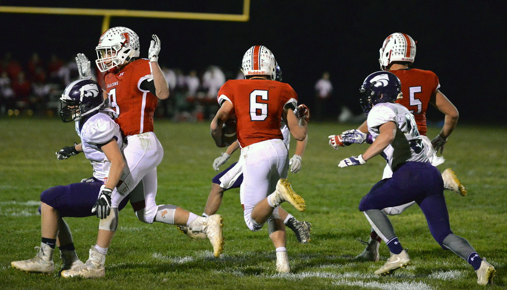 . Aimee Bielozer - The Morning Journal<br> Firelands running back Nick Denney looks for space against Keystone on Oct. 27.