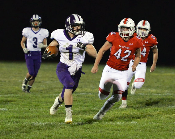 . Aimee Bielozer - The Morning Journal<br> Keystone\'s Justin Able rips off a big run against Firelands on Oct. 27.