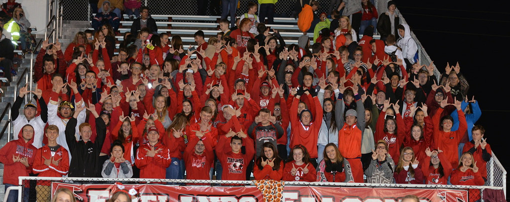 . Aimee Bielozer - The Morning Journal<br> The Firelands\' student section cheers on the Falcons against Keystone on Oct. 27.