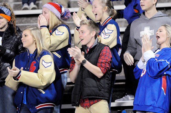 Don Knight | The Herald Bulletin<br /> Elwood students react to a 63 yard touchdown pass from quarterback Jake Wilson to wide receiver Seth Mireles as the Panthers hosted Blackford in the sectional 36 semifinal on Friday.