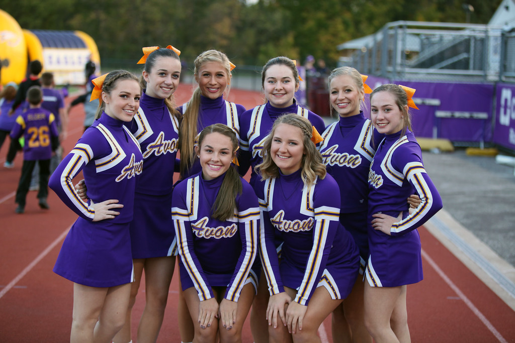 . Randy Meyers - The Morning Journal Avon\'s varsity cheerleaders pose prior to Friday\'s game against Olmsted Falls.