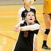 Don Knight | The Herald Bulletin<br /> Alexandria's Morgan Moore passes the ball during the volleyball semistate at Plymouth High School on Saturday.