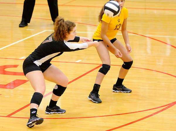 Don Knight   The Herald Bulletin<br /> Volleyball semistate at Plymouth High School on Saturday.