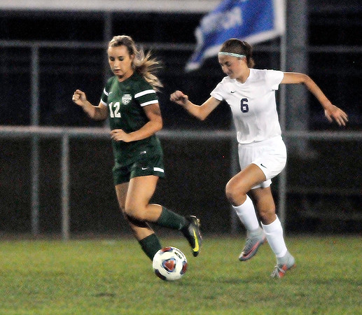John P. Cleary |  The Herald Bulletin<br /> Pendleton Hts. vs Muncie Central in 3A Girls Soccer Sectional.