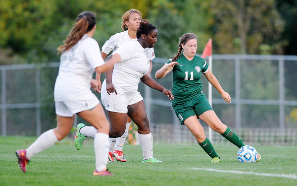 Don Knight   The Herald Bulletin<br /> Anderson faced Pendleton Heights in the opening game of the girls soccer sectional at Noblesville on Tuesday.