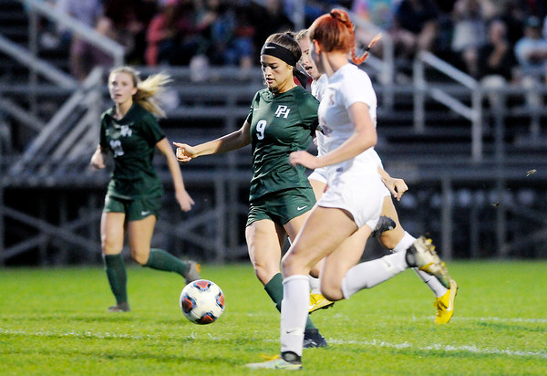 Don Knight | The Herald Bulletin<br /> Pendleton Heights' Helena Talbot scores on an assist from Taylor Fort as the Arabians faced Fishers in the sectional final at Noblesville on Saturday.