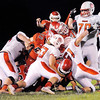 Don Knight | The Herald Bulletin<br /> Frankton quarterback Travis McGuire (18) dives for a first down as the Eagles hosted the Mississinewa Indians on Friday.