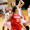 Don Knight   The Herald Bulletin<br /> Anderson's Erin Martin drives for a layup as the Lady Tribe hosted Richmond on Friday.