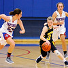 Don Knight | The Herald Bulletin<br /> Shenandoah's Kathryn Peery cuts back between Elwood's Caroline Daughtry (24) and Ashley Titley as she brings the ball down court for the Raiders as they faced the Panthers on Thursday.